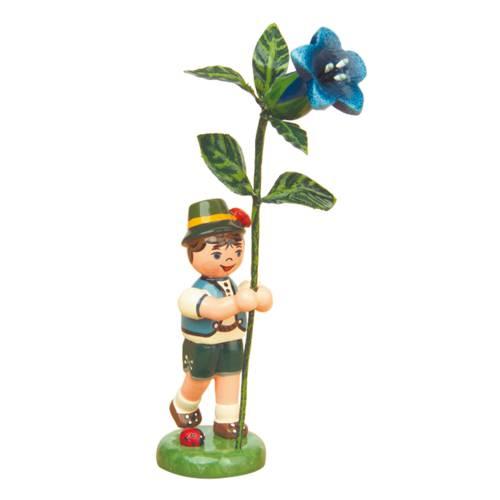 Blumenkind Junge mit Enzian