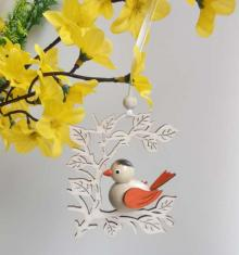 Behang Vogel im Zweig, orange