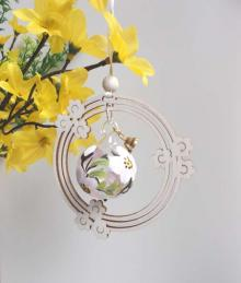 Behang Glaskugel Apfelblüte im Blumenkranz