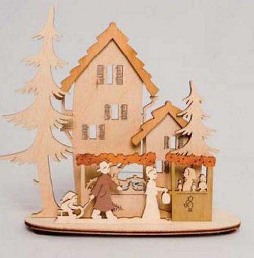 Teelichthalter Weihnachtsmarkt