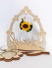 Teelichthalter Komet mit Blumentor Kugel Sonnenblume