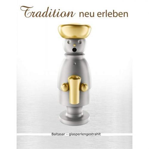 Edelstahl Räuchermann, Balthasar glasperlengestrahlt