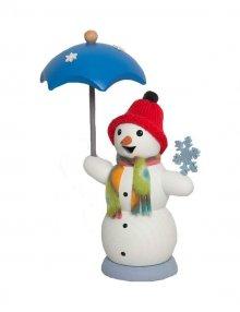 Räuchermann Schneemann mit Schirm und Schal