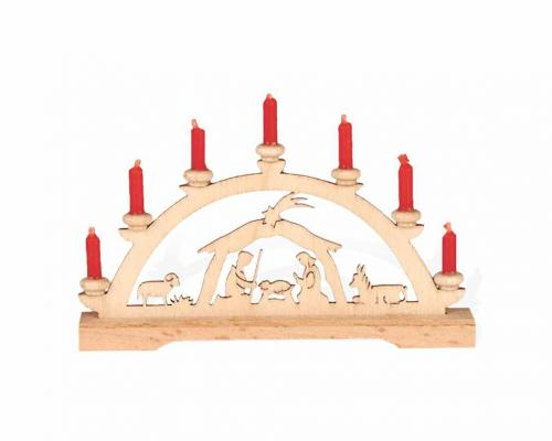 Mini-Schwibbogen Krippe mit roten Kerzen