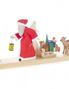 Kerzenhalter Weihnachtsmann mit Schlitten und Rehen