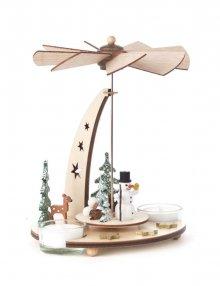 Teelichtpyramide Schneemann