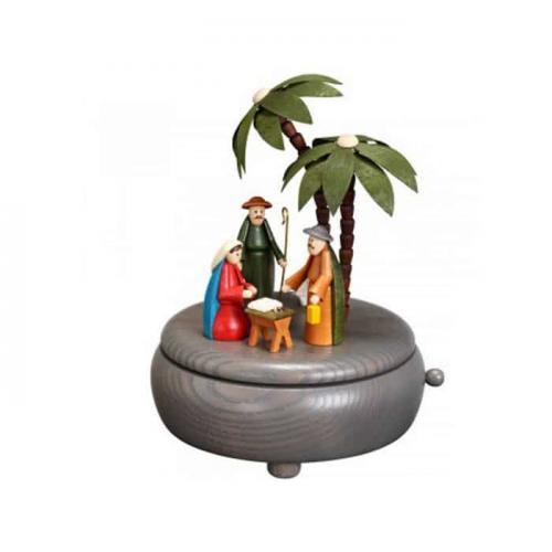 Spieldose Christi Geburt, grau