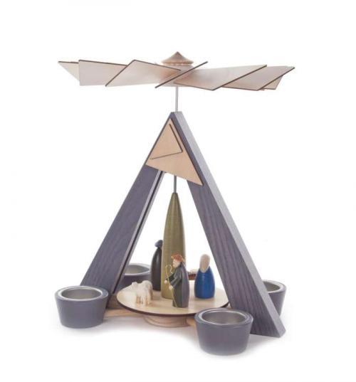 Teelichtpyramide Christi Geburt, grau