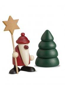 miniaturset 5, weihnachtsmann mit stern und baum