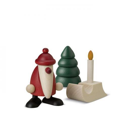 miniaturset 2 , weihnachtsmann mit schlitten und baum