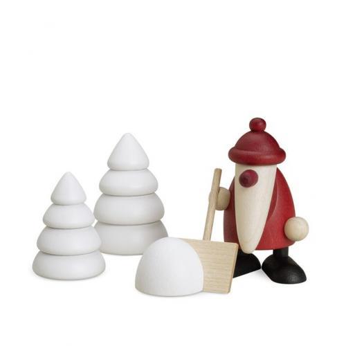 miniaturset 4, weihnachtsmann mit schneeschippe und bäumen