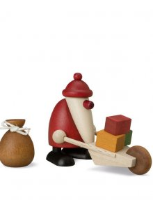miniaturset 3, weihnachtsmann mit schubkarre und sack