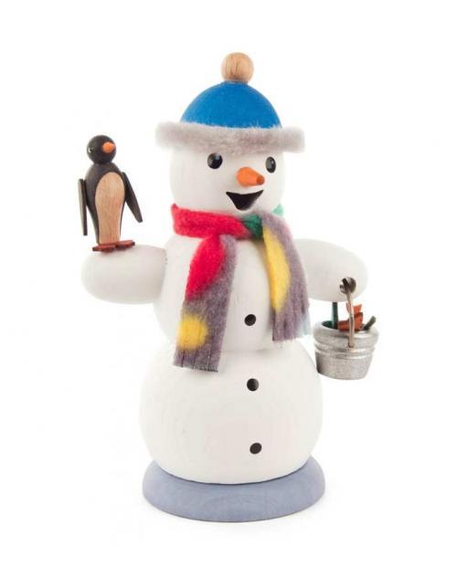 Räuchermann Schneemann mit Pinguin