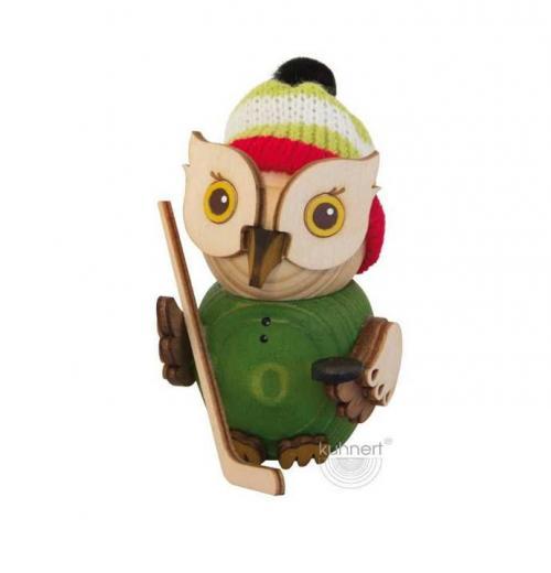 Holzfigur Mini-Eule Eiskockey