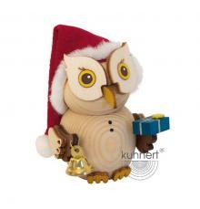 Holzfigur Mini-Eule Weihnachtsmann
