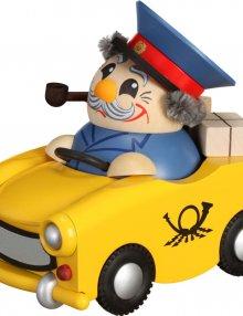 Kugelräucherfigur Postbote im Trabi