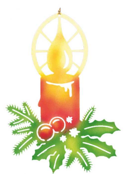 Fensterbild Kerze mit Zweigen, farbig