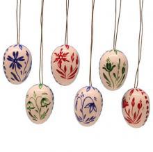 Behang 6 Ostereier mit bunten Blumen