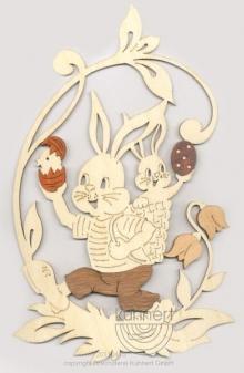 Fensterbild Hase und Hasenbaby, mit Edelholzfunier