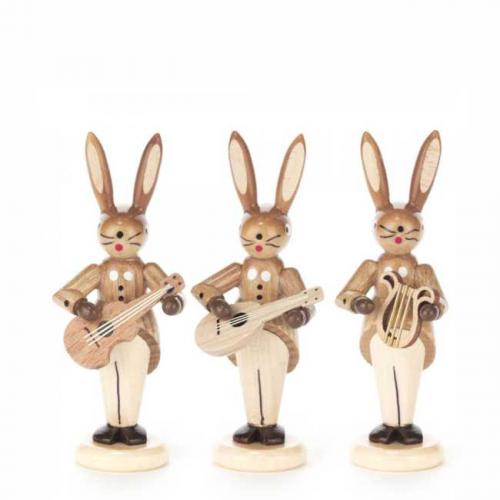 Hasentrio mit Gitarre, Mandoline und Lyra, natur