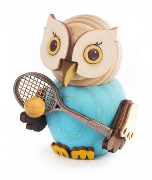 Holzfigur Mini-Eule mit Tennisschläger