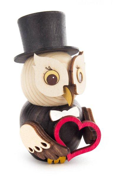 Holzfigur Mini-Eule Bräutigam