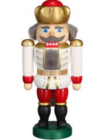 Nussknacker König weiß-rot, 20cm