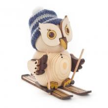 Holzfigur Mini-Eule mit Ski