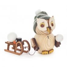Holzfigur Mini-Eule mit Schlitten