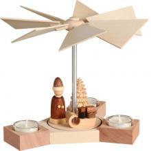Teelichtpyramide Hexagonum, Weihnachtsmann mit Schlitten