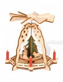 Mini-Pyramide Christi Geburt mit grünem Baum