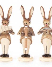 Hasentrio mit Mundharmonika, Panflöte und Didgeridoo, natur