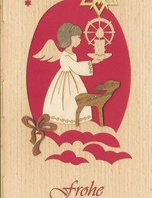 Weihnachts Grußkarte Engel und Reh