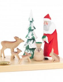 Weihnachtsmann mit Waldtieren und Tannenbaum