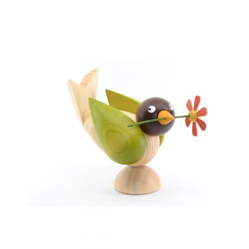 Vögel mit Blume, gruen
