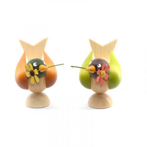 Vögel mit Blume, 2-tlg