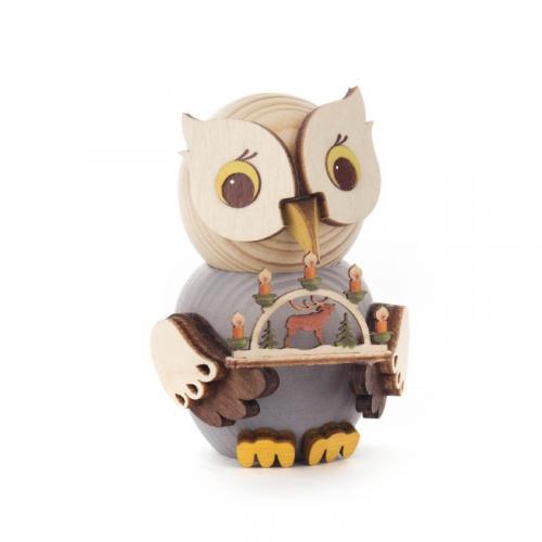 Holzfigur Mini-Eule mit Schwibbogen