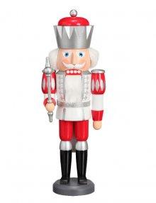 Nussknacker König weiß-silber-rot