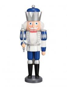 Nussknacker König weiß-silber-blau, 40 cm