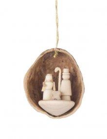 Behang Christi Geburt in Walnussschale