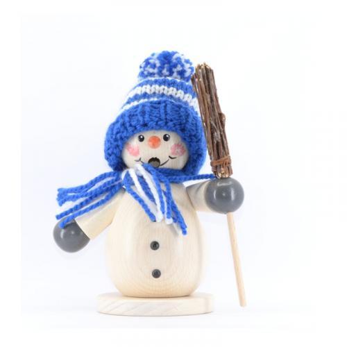 Räuchermann Schneemann mit blauer Mütze und Besen