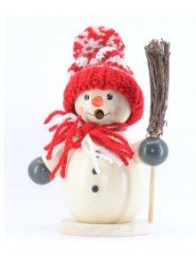 Räuchermann Schneemann mit roter Mütze und Besen