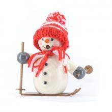 Räuchermann Schneemann mit roter Mütze und Ski