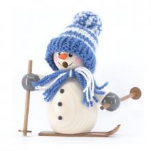 Räuchermann Schneemann mit blauer Mütze und Ski