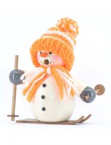 Räuchermann Schneemann mit orangener Mütze und Ski
