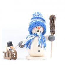 Räuchermann Schneemann mit Schlitten und Kind, blau