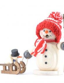 Räuchermann Schneemann mit Schlitten und Kind, rot