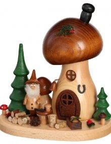 Räucherfigur Pilzhaus Pilzsammler