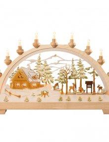 Schwibbogen Forsthaus mit Rehen, farbig