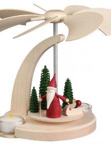Bogenpyramide Weihnachtswichtel mit Schlitten, klein